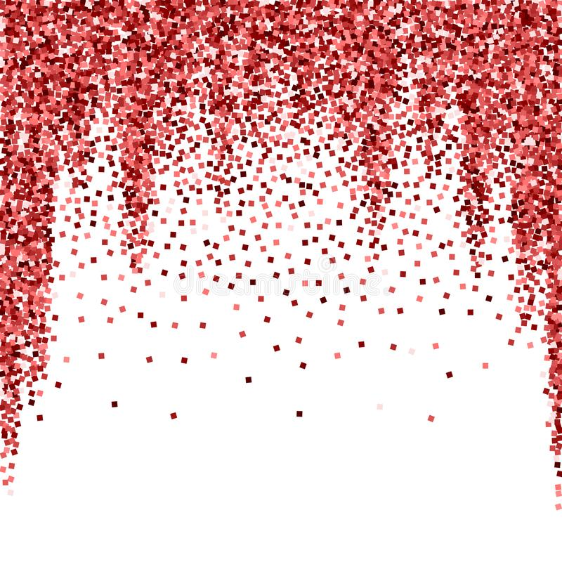 Red gold glitter luxury sparkling confetti. Scatte. Red small gold particles on white background. Admirable festive overlay template. Uncommon vector vector illustration