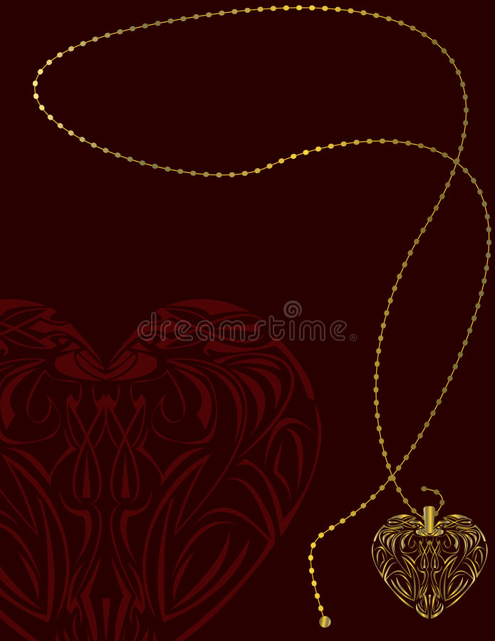 Red gold heart locket background stock illustration