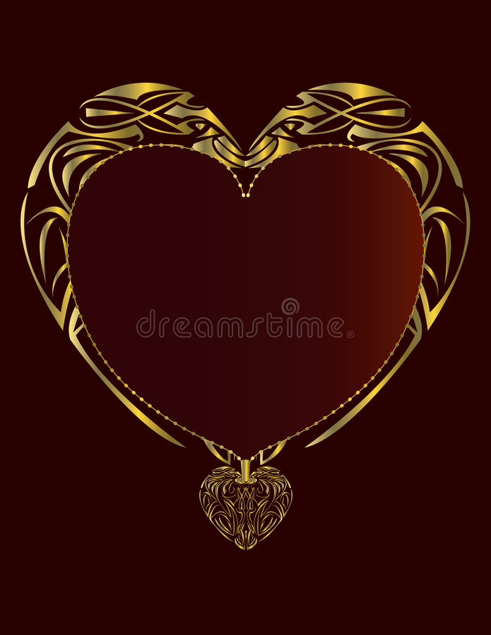 Red gold heart shaped frame royalty free illustration