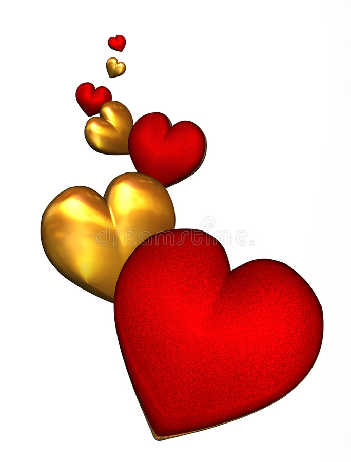 Red and Gold Hearts - with clipping path royalty free illustration