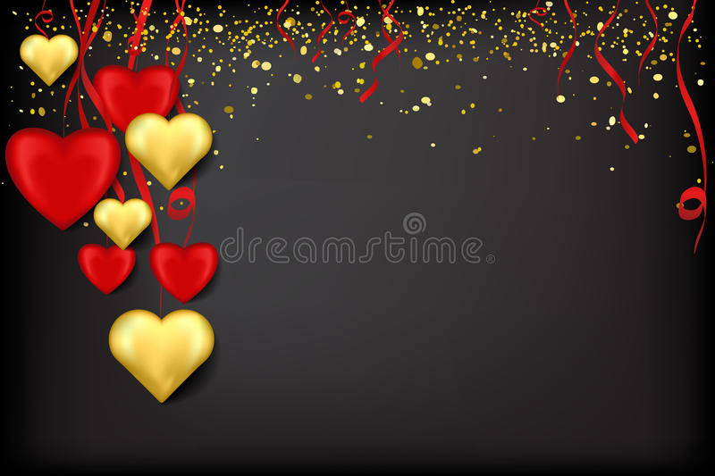 Red and gold hearts on ribbons with confetti on a black stock illustration
