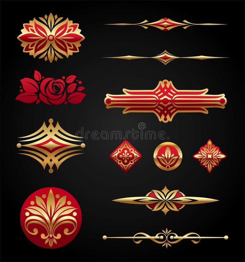Red & gold luxury design elements royalty free illustration