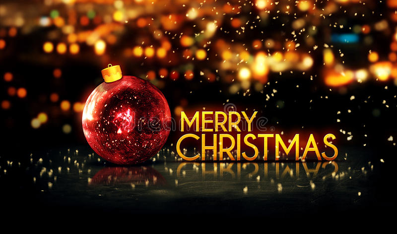 Red Gold Merry Christmas Bokeh Beautiful 3D Background stock image