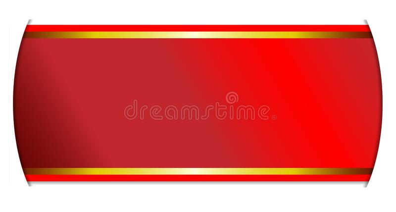 Red And Gold Ribbon Banner Over White Background vector illustration