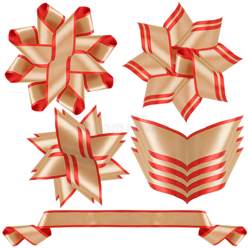 Red and gold ribbon and bow. Five beautiful objects for gift and congratulation registration royalty free stock images