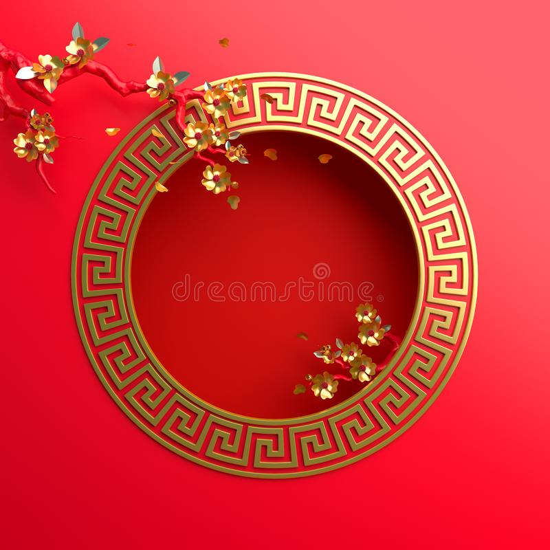 Red gold sakura flower and branch, cherry blossom, chinese lantern, round border frame greek key. Design creative concept of chinese festival celebration gong stock illustration