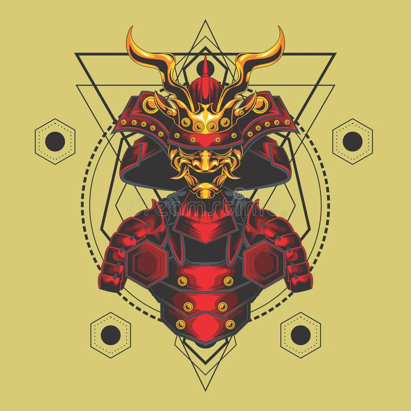 Red and gold samurai armor sacred geometry royalty free illustration