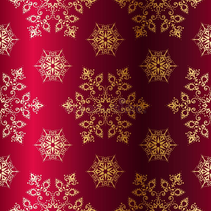 Red-and-Gold seamless Christmas background vector illustration