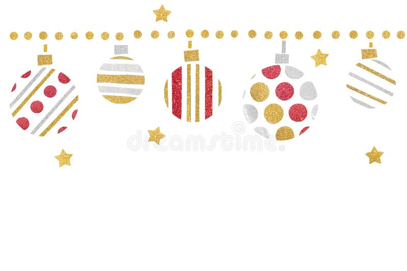 Red gold and silver glitter christmas balls paper cut on white background. Isolated stock images