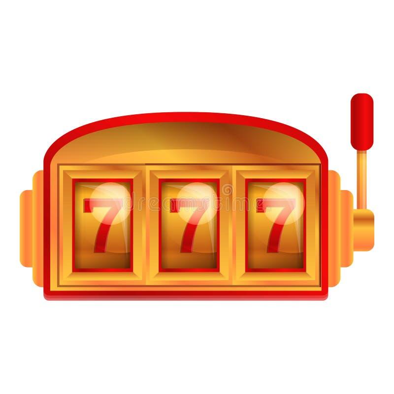 Red gold slot machine icon, cartoon style vector illustration
