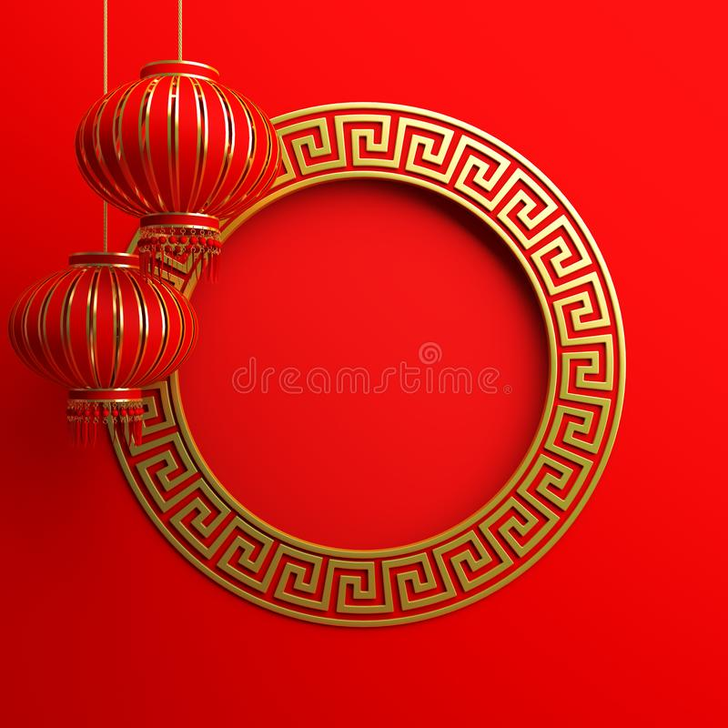 Red and gold traditional Chinese lanterns lampion, round border frame greek key. Design creative concept of chinese festival celebration. 3D rendering vector illustration