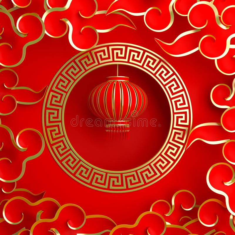 Red and gold traditional Chinese lanterns lampion, round border frame greek key and paper cut cloud. Design creative concept of chinese festival celebration stock illustration
