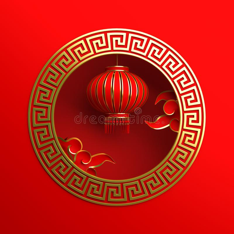 Red and gold traditional Chinese lanterns lampion, round border frame greek key and paper cut cloud. Design creative concept of chinese festival celebration royalty free illustration