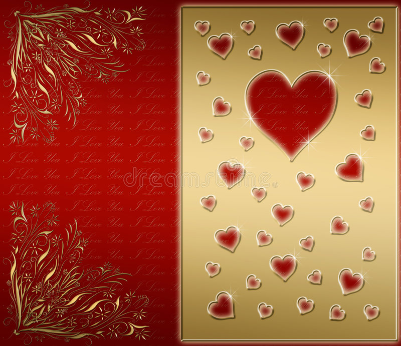 red & gold Valentines card vector illustration