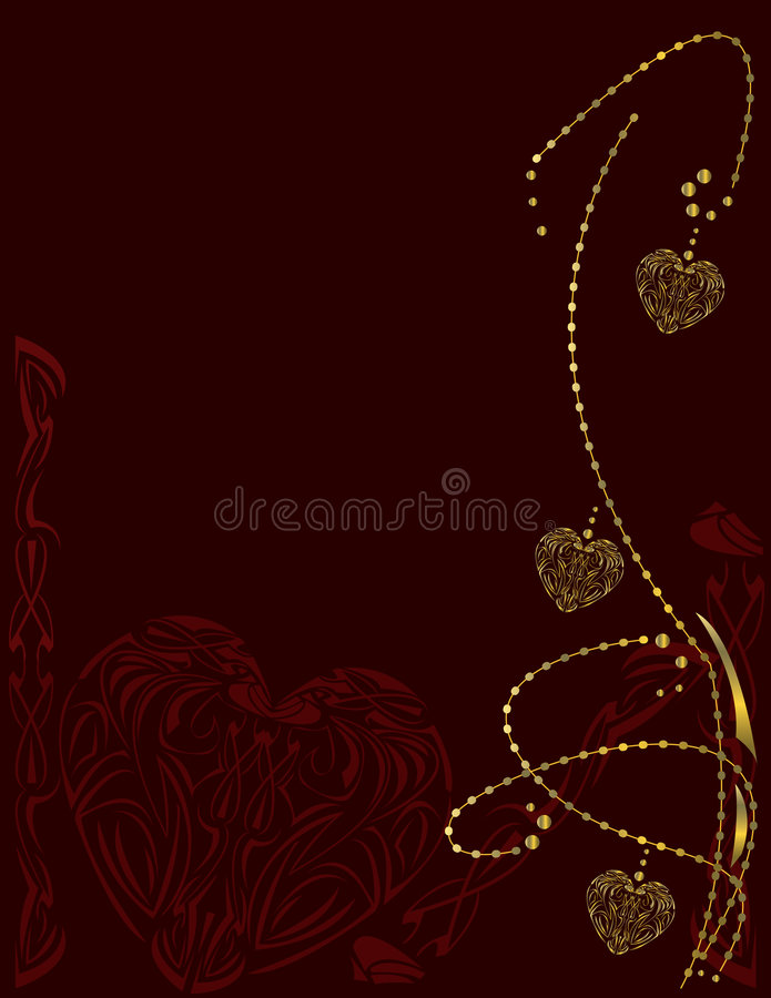 Red gold vertical heart background royalty free illustration