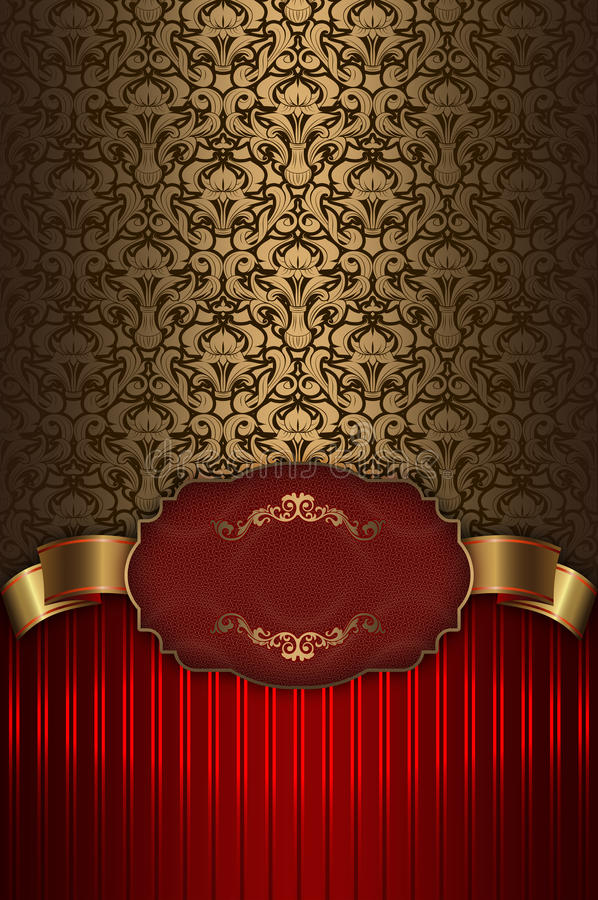 Red and gold vintage background with frame. stock illustration