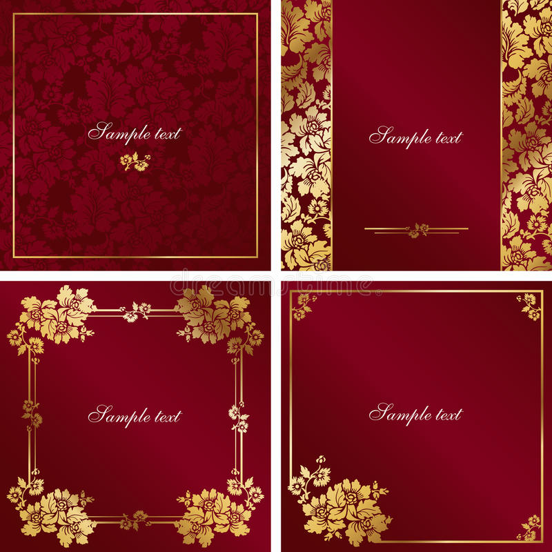 Download Red and gold vintage frame stock vector. Image of decor - 18196359