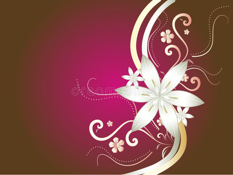 Red, gold and white abstract floral background stock illustration