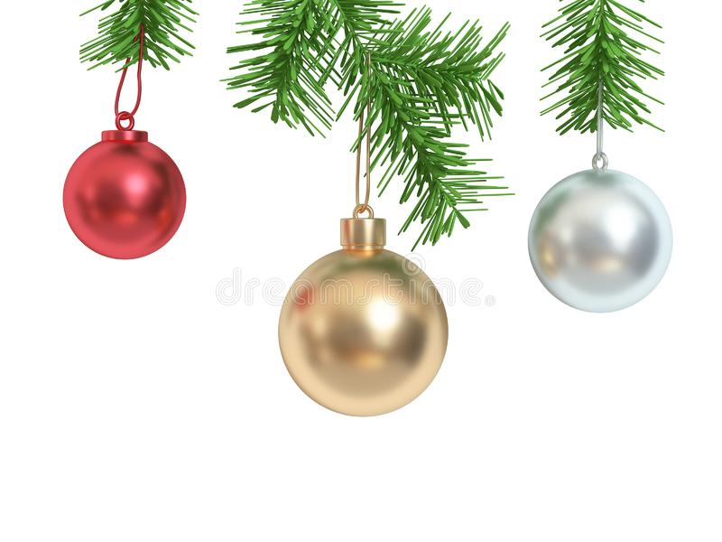 Red gold white metallic christmas ball white background 3d render,holiday christmas new year concept stock images