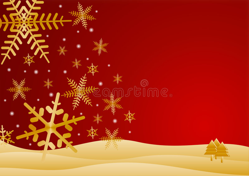 Red and gold winter scene vector illustration
