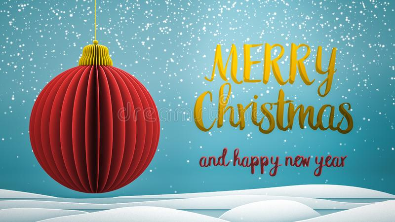 Red and gold xmas tree ball decoration Merry Christmas and Happy New Year greeting message in english on blue background royalty free stock photography