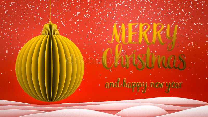Red and gold xmas tree ball decoration Merry Christmas and Happy New Year greeting message in english on red background stock photos