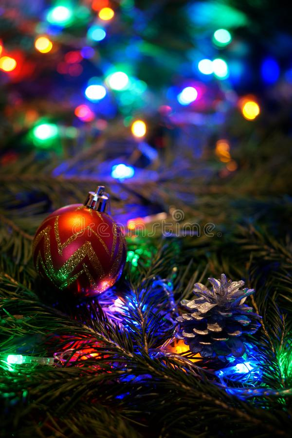 A red golden ball and a lump on a tree branch. A red golden ball and a lump on a tree branch among the multicolored lights. Congratulations on the New Year and royalty free stock photography