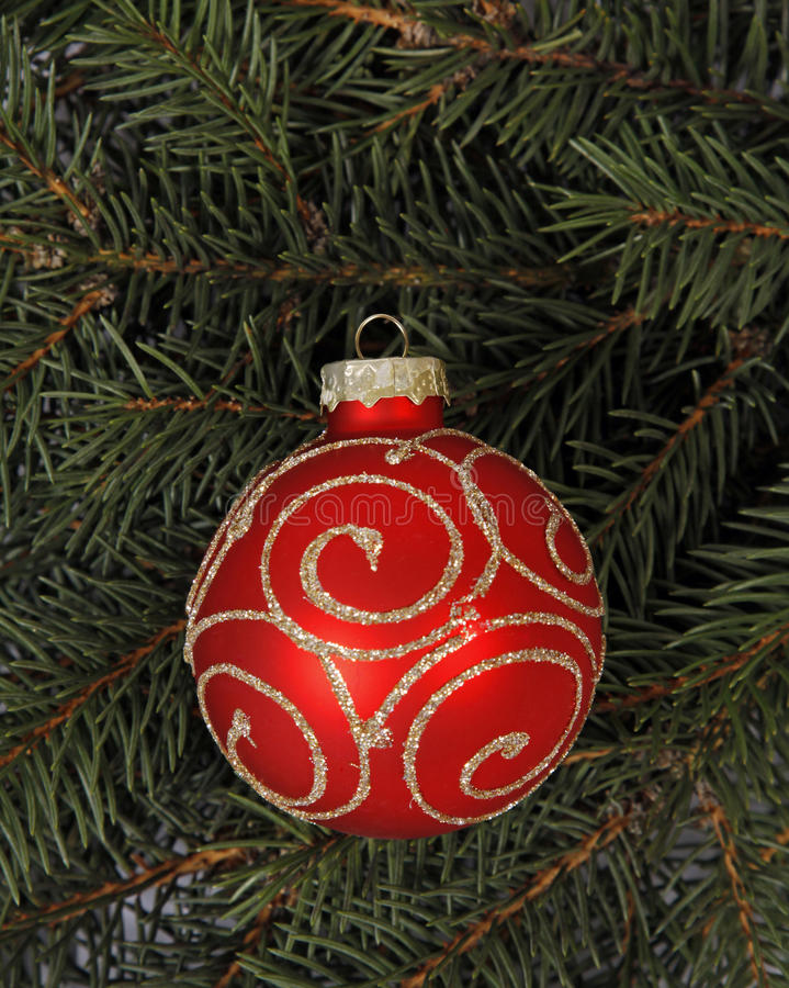 Red-golden bauble stock photos