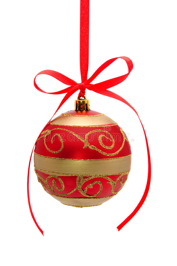 Download Red-golden Christmas Ball Isolated On White Stock Image - Image of decor, design: 17297601