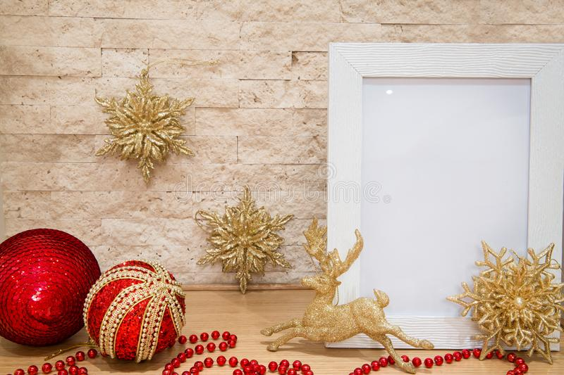 Red and golden Christmas decoration. Christmas greeting, space f stock image