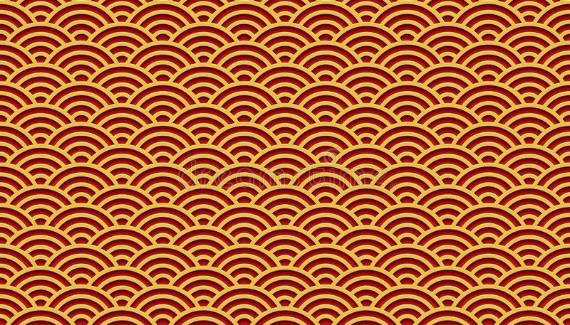 Red and golden clouds pattern chinese traditional oriental ornament background. Red and golden clouds vector pattern chinese traditional oriental ornament stock illustration