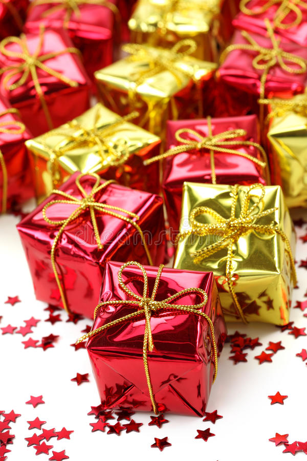 Red And Golden Gifts Stock Photo