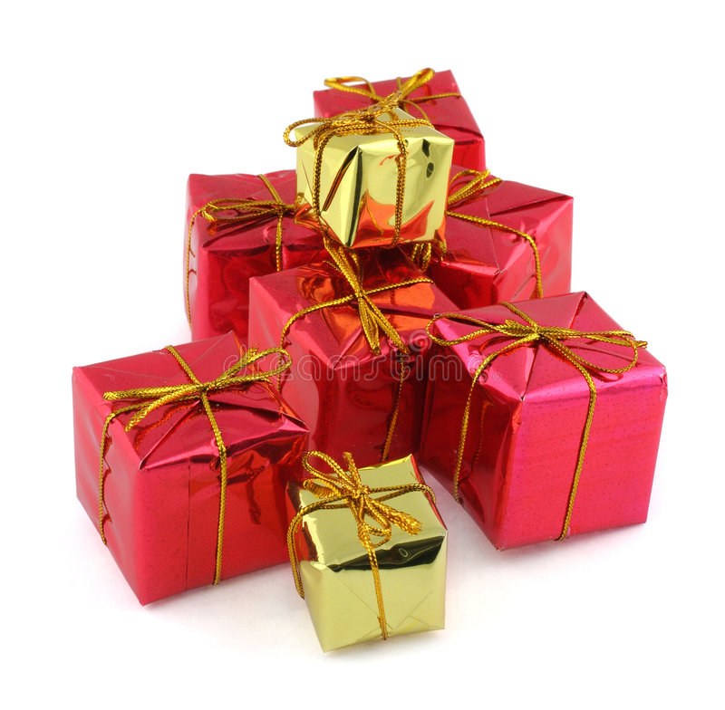 Red And Golden Gifts Royalty Free Stock Photography