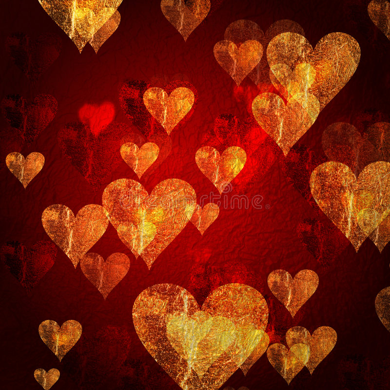 Free Red Golden Hearts Background Royalty Free Stock Photo - 7823755