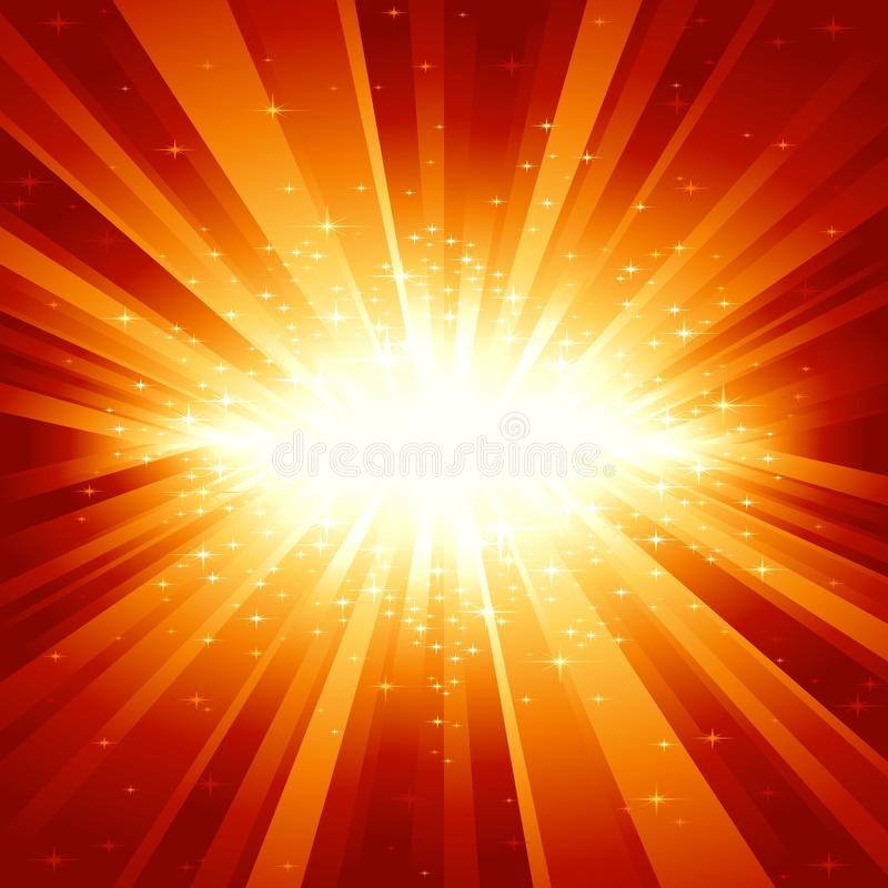Red golden light burst with stars. Festive explosion (centered) of light and stars from white to golden to dark red. 7 global colors, light rays controlled by 1 vector illustration