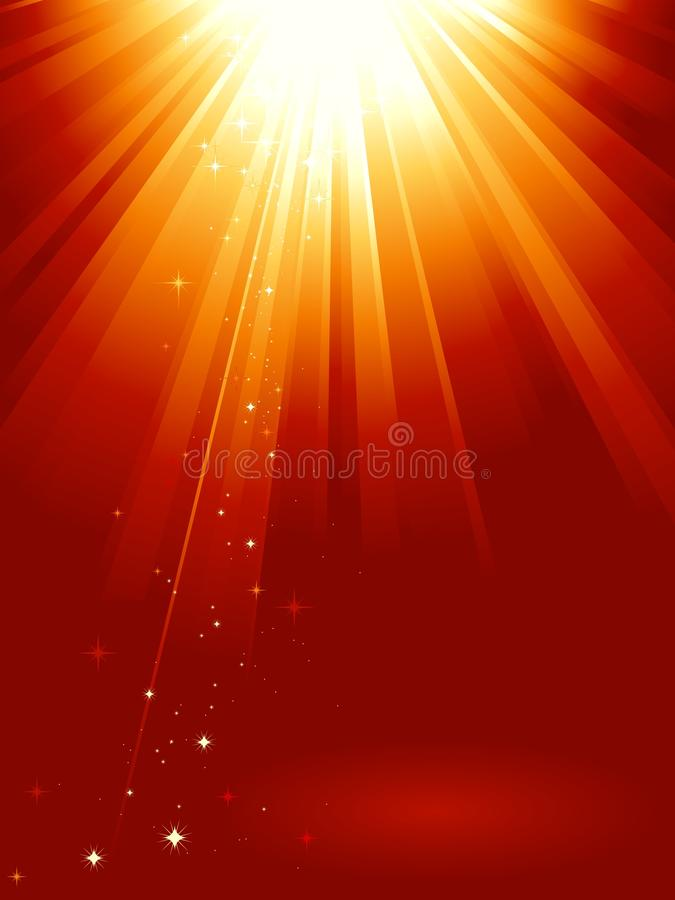 Red Golden Light Burst With Stars Royalty Free Stock Photos