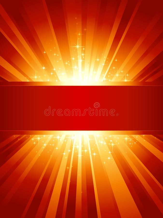 Red golden light burst with stars and copy-space. Red golden light burst with sparkling stars and space for your message. 1 linear gradient, 7 global colors for vector illustration