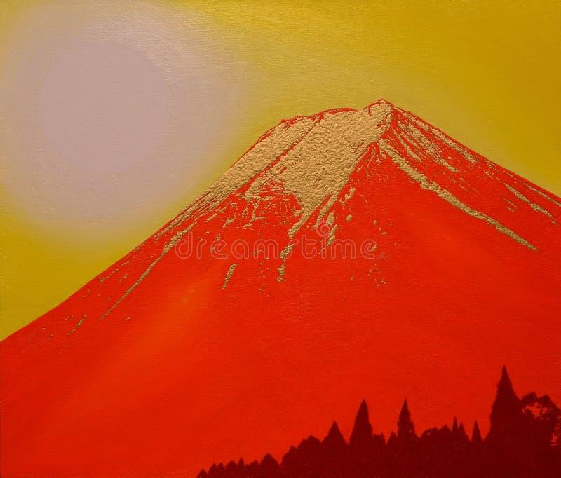Red and Golden Mt.fuji from Fujiyoshida City Japan. Oil painting Red and Golden Mt.fuji from Fujiyoshida City Japan royalty free illustration