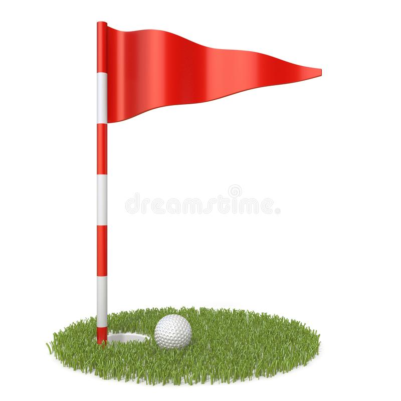 Red golf flag, golf ball and grass hole 3D stock illustration