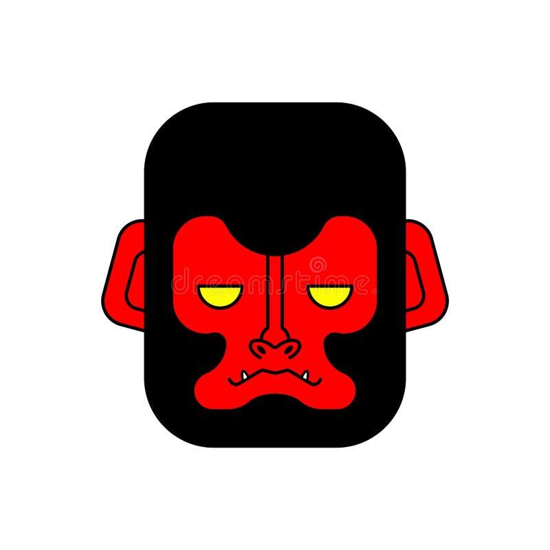 Red gorilla face. Evil monkey head. Vector illustration vector illustration