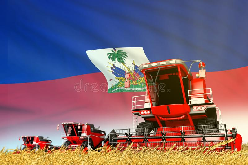 Red grain agricultural combine harvester on field with Haiti flag background, food industry concept - industrial 3D illustration. Industrial 3D illustration of vector illustration