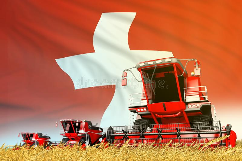 Industrial 3D illustration of red grain agricultural combine harvester on field with Switzerland flag background, food industry. Red grain agricultural combine vector illustration