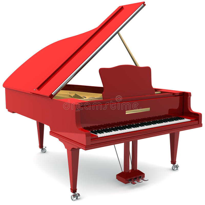 Red grand piano vector illustration