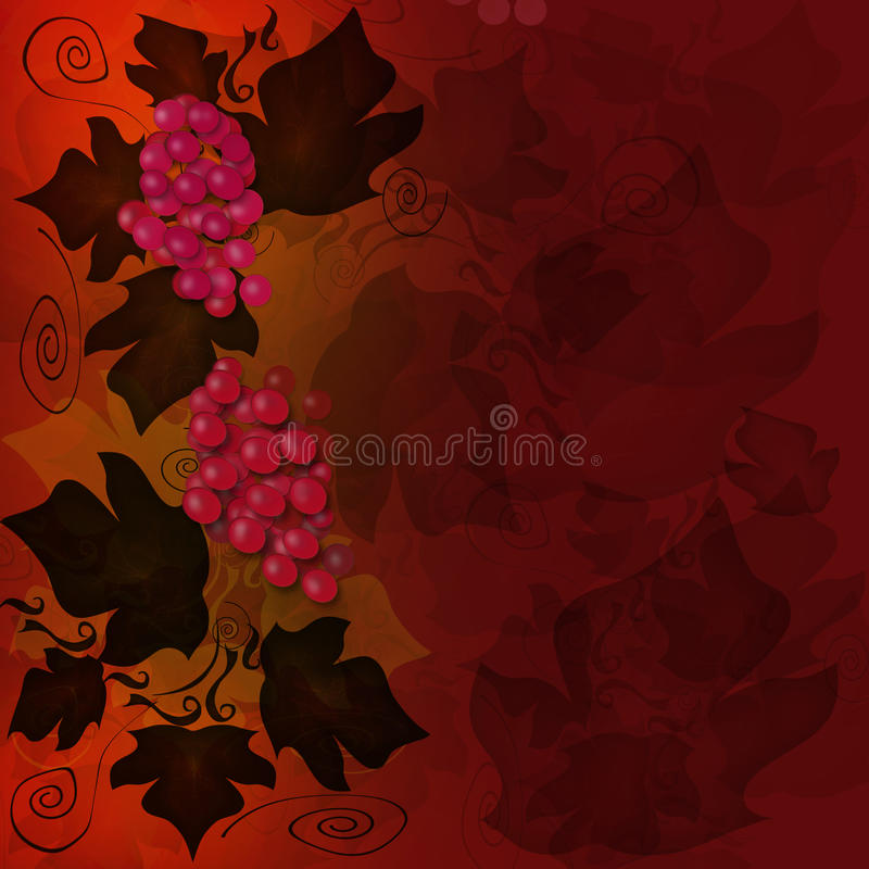 Red grape background. With frame vector illustration