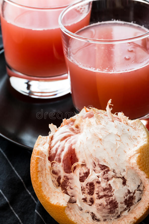 Red grapefruit juice stock photo