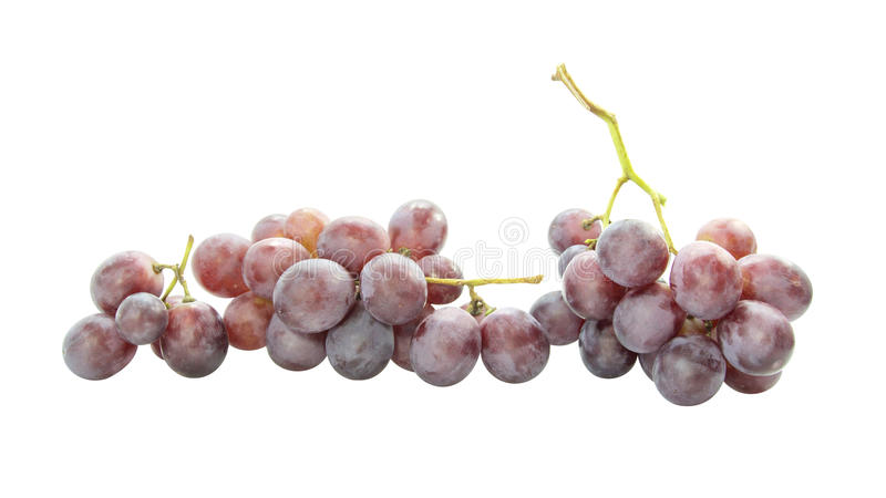Red grapes bunch several size. On white background royalty free stock photos
