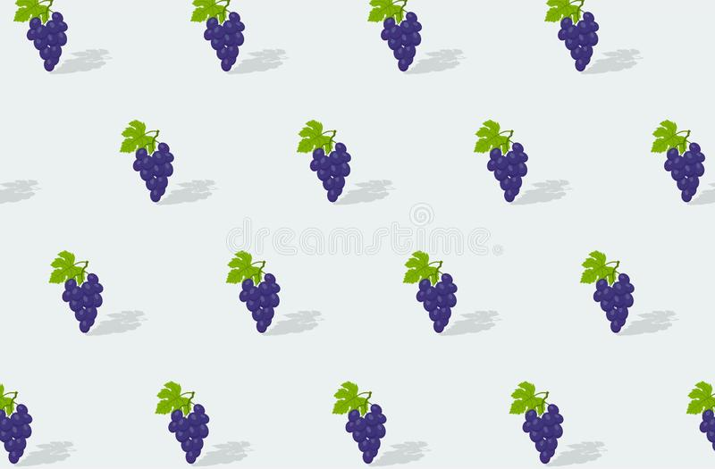 Red grapes with green leafs on light background. seamless texture. vector fruit background vector illustration