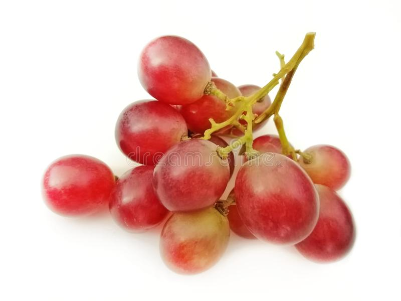 Red grapes isolated on white background stock image