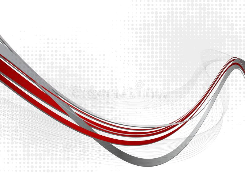Red and gray abstract wave background with copy space. Vector illustration stock illustration