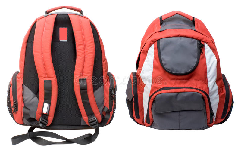 Red-gray backpack isolated stock photos